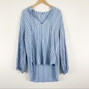 Free People Rhythm of the Night Tunic Top Blue Striped Size XS